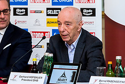 09.01.2018, Haus des Sports, Wien, AUT, EHF Euro 2018, Herren, Pressekonferenz Österreich, im Bild Präsident Gerhard Hofbauer (ÖHB) // during an Austrian Press Conference in front of the EHF 2018 European Men' s Handball Championship in Croatia at the Haus des Sports, Vienna, Austria on 2018/01/09. EXPA Pictures © 2018, PhotoCredit: EXPA/ Sebastian Pucher