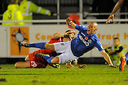 James Constable (9) of Eastleigh is fouled by Raphael Rossi Branco (29) of Swindon Town during the The FA Cup match between Eastleigh and Swindon Town at Arena Stadium, Eastleigh, United Kingdom on 4 November 2016. Photo by Graham Hunt.