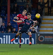 8th May 2018, Global Energy Stadium, Dingwall, Scotland; Scottish Premiership football, Ross County versus Dundee; Kevin Holt of Dundee battles for the ball with Alex Schalk of Ross County