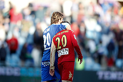 07.04.2012, Stadion Coliseum Alfonso Perez, Getafe, ESP, Primera Division, FC Getafe vs Sporting Gijon, 32. Spieltag, im Bild Getafe's Juan Valera consoles Sporting de Gijon's Miguel de las Cuevas // during the football match of spanish 'primera divison' league, 32th round, between FC Getafe and Sporting Gijon at Coliseum Alfonso Perez stadium, Getafe, Spain on 2012/04/07. EXPA Pictures © 2012, PhotoCredit: EXPA/ Alterphotos/ Alvaro Hernandez..***** ATTENTION - OUT OF ESP and SUI *****