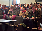 #MT judges jot down notes as the presenters discuss their thesis. Judges from left to right are Joseph C. Shields (VP for Research and Dean of the Grautate College), Elizabeth P. Sayrs (Interim Executive VP and Provost), Kelee Riesback (Director of Content, Advancement Communications & Marketing Editor: Ohio Today and Steve Patterson (Mayor of Athens, former faculty).