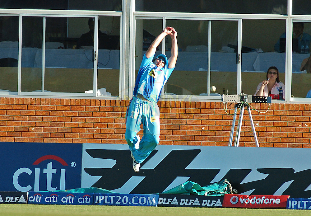 EAST LONDON, SOUTH AFRICA - 1 May 2009.  Graham Napier tries to stop a 6 during the  IPL Season 2 match between the Mumbai Indians and the Kolkata Knight Riders held at Buffalo Park in East London. South Africa...