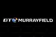 Stadium lights are on for the Guinness Pro 14 2018_19 match between Edinburgh Rugby and Dragons Rugby at Murrayfield Stadium, Edinburgh, Scotland on 15 February 2019.