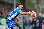 Rhys Bennett during the The FA Cup match between Rochdale and Bury at Spotland, Rochdale, England on 6 December 2015. Photo by Daniel Youngs.