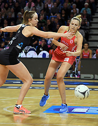 England's Joanne Harten, right, under pressure from New Zealand's Kelly Jury in the Taini Jamison Trophy netball series match at Te Rauparaha Arena, Porirua, New Zealand, Thursday, September 07, 2017. Credit:SNPA / Ross Setford  **NO ARCHIVING**