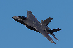 Lockheed Martin F-35C Lighting II (XE-105) from the US Navy VX-9 Vampires, flies through the Jedi Transition, Star Wars Canyon, Death Valley National Park, California, United States of America