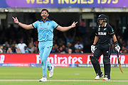 Wicket - Liam Plunkett of England celebrates taking the wicket of Henry Nicholls of New Zealand during the ICC Cricket World Cup 2019 Final match between New Zealand and England at Lord's Cricket Ground, St John's Wood, United Kingdom on 14 July 2019.