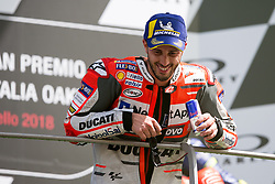 June 3, 2018 - Mugello, FI, Italy - Andrea Dovizioso of Ducati Team celebrate the second place of the MotoGP Oakley Grand Prix of Italy, at International  Circuit of Mugello, on May 31, 2018 in Mugello, Italy  (Credit Image: © Danilo Di Giovanni/NurPhoto via ZUMA Press)