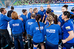 Team RK Krim Mercator during handball match between RK Krim Mercator (SLO) and Larvik HK (NOR) in 1st Round of Women's Champions League on February 1, 2014 in Arena Stozice, Ljubljana, Slovenia. Photo by Urban Urbanc / Sportida
