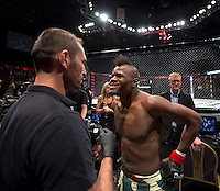 JOHANNESBURG, SOUTH AFRICA - MAY 13: Alain Ilunga prepares to enter the Hexagon during EFC 49 Fight Night at the Big Top Arena, Carnival City, Johannesburg, South Africa on May 13, 2016. (Photo by Anton Geyser/ EFC Worldwide)