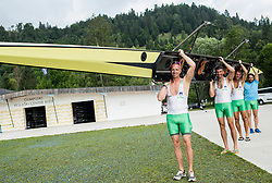 Jani Klemencic, Sadik Mujkic, Milan Jansa and Denis Zvegelj of  Slovenian rowing team 25-years after Olympic medals in Barcelona 1992 at practice session preparing for World Rowing Masters Regatta Bled 2017, on July 13, 2017 at Lake Bled, Slovenia. Photo by Vid Ponikvar / Sportida