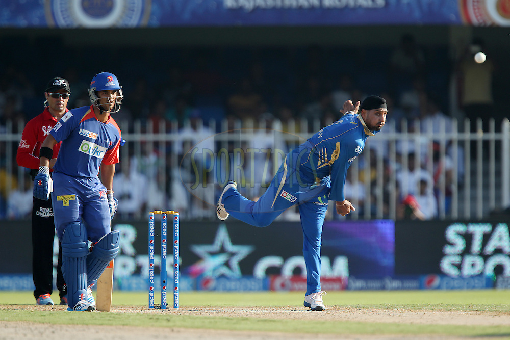 Harbhajan Singh of the Mumbai Indians during match 16 of the Pepsi Indian Premier League 2014 between the Delhi Daredevils and the Mumbai Indians held at the Sharjah Cricket Stadium, Sharjah, United Arab Emirates on the 27th April 2014<br /> <br /> Photo by Ron Gaunt / IPL / SPORTZPICS