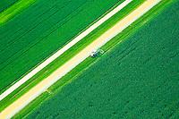 Aerial view of Farmland in  Pennsylvania, Amish Countryside