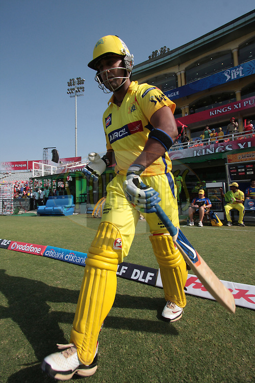 Chennai Super Kings batsman walk during match 9 of the Indian Premier League ( IPL ) Season 4 between the Kings XI Punjab and the Chennai Super Kings held at the PCA stadium in Mohali, Chandigarh, India on the 13th April 2011..Photo by Anil Dayal/BCCI/SPORTZPICS