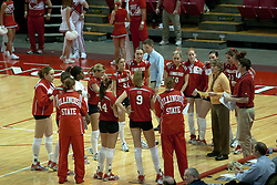 20 November 2004....Team Redbird during a time out.....Illinois State University Redbirds V Drake Bulldogs Women's Volleyball.  Redbird Arena, Illinois State University, Normal IL