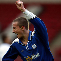 Clyde v St Johnstone..  07.12.02<br />Chris Hay celebrates his goal<br /><br />Pic by Graeme Hart<br />Copyright Perthshire Picture Agency<br />Tel: 01738 623350 / 07990 594431