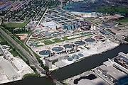 Wastewater treatment plant with up to 50 sedimentation tanks on the Rouge (foreground) and Detroit (background) Rivers.