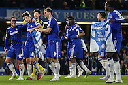 Chelsea players celebrate victory against Liverpool after Branislav Ivanovic of Chelsea (4th left) scored the winning goal after the Capital One Cup Semi Final 2nd Leg match between Chelsea and Liverpool at Stamford Bridge, London, England on 27 January 2015. Photo by David Horn.