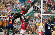 Twickenham, Surrey United Kingdom. Kenya collect the high ball, Pool A match, USA vs Kenya , at the &quot;2017 HSBC London Rugby Sevens&quot;,  Saturday 20/05/2017 RFU. Twickenham Stadium, England    <br /> <br /> [Mandatory Credit Peter SPURRIER/Intersport Images]