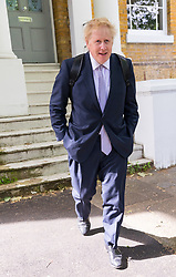 © Licensed to London News Pictures. 28/05/2019. London, UK.  BORIS JOHNSON leaves his south London home today. Following Prime Minister, Theresa May's resignation, Boris Johnson has stated that he will run for the leadership of the Conservative party and is widely tipped as the favourite to win. Photo credit: Vickie Flores/LNP