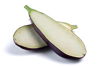 Halved aubergine on white background