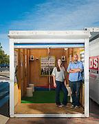 Rachel Falcone and Michael Premo, installation artists in a Pod gallery, Straz Center, Tampa, Florida.