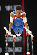 Joe Fraser (Great Britain) the Parallel bars competition during the presentation of the teams during the European Championships Glasgow 2018, Team Men Final at The SSE Hydro in Glasgow, Great Britain, Day 10, on August 11, 2018 - Photo Laurent Lairys / ProSportsImages / DPPI