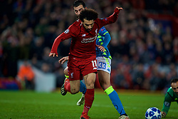LIVERPOOL, ENGLAND - Tuesday, December 11, 2018: Liverpool's Mohamed Salah is pushed by Napoli's Raúl Albiol, but no penalty is given, during the UEFA Champions League Group C match between Liverpool FC and SSC Napoli at Anfield. (Pic by David Rawcliffe/Propaganda)