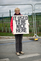 © Licensed to London News Pictures. 09/10/2017. Lancashire, UK.  A protester at the Anti-Fracking Demonstration on Preston New Road Lancashire at the entrance to Cuadrillas Hydraulic fracking site. The Demo brought together activists from Greenpeace, The Green Party and the local community to protest against the drilling taking place at the site.  Photo credit: Steven Speed/LNP