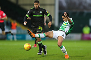 Forest Green Rovers Reuben Reid(26) and Yeovil Towns Adel Gafaiti(2) during the EFL Sky Bet League 2 match between Yeovil Town and Forest Green Rovers at Huish Park, Yeovil, England on 8 December 2018.