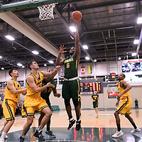 3rd year forward Shaquille Harris (6) of the Regina Cougars in action during the Men's Basketball home game on January  20 at Centre for Kinesiology, Health and Sport. Credit: /Arthur Images
