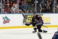 KELOWNA, BC - SEPTEMBER 21:  Dillon Hamaliuk #22 of the Kelowna Rockets celebrates a goal against the Spokane Chiefs at Prospera Place on September 21, 2019 in Kelowna, Canada. (Photo by Marissa Baecker/Shoot the Breeze)
