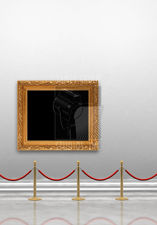 Art museum gallery with blank painting frame hanging on the wall