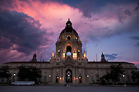 Wedding Photography Session in Front of City Hall at Dusk, Pasadena, California