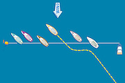 A vector illustration of yacht racing techniques and maneuvers at the starting line.