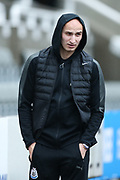 Jonjo Shelvey (#8) of Newcastle United arrives ahead of the Premier League match between Newcastle United and Huddersfield Town at St. James's Park, Newcastle, England on 31 March 2018. Picture by Craig Doyle.