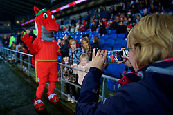 CARDIFF, WALES - Friday, November 24, 2017: Wales dragon mascot during the FIFA Women's World Cup 2019 Qualifying Round Group 1 match between Wales and Kazakhstan at the Cardiff City Stadium. (Pic by David Rawcliffe/Propaganda)