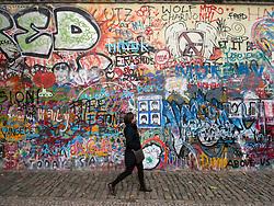 Lennon Wall graffiti in Mala Strana in Prague in Czech Republic