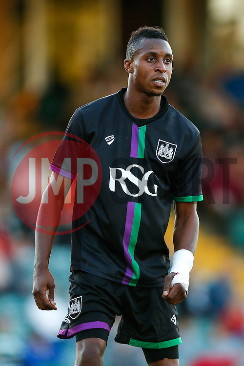 Jonathan Kodjia of Bristol City looks on - Mandatory byline: Rogan Thomson/JMP - 07966 386802 - 30/07/2015 - FOOTBALL - Huish Park Stadium - Yeovil, England - Yeovil Town v Bristol City - Pre Season Friendly.
