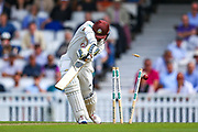 Wicket! Scott Borthwick of Surrey is bowled out by Harry Podmore of Kent during the Specsavers County Champ Div 1 match between Surrey County Cricket Club and Kent County Cricket Club at the Kia Oval, Kennington, United Kingdom on 7 July 2019.