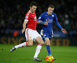 Michael Carrick of Manchester United (L) and Jamie Vardy of Leicester City in action  - Mandatory byline: Jack Phillips/JMP - 07966386802 - 28/11/2015 - SPORT - FOOTBALL - Leicester - King Power Stadium - Leicester City v Manchester United - Barclays Premier League