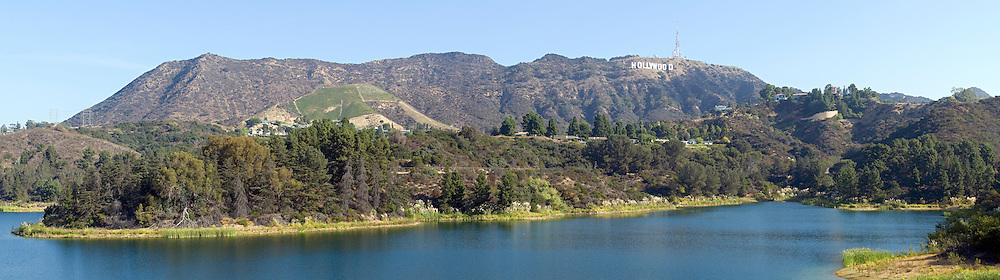 Panorama of Hollywood Reservoir or Lake Hollywood and Cuhuenga Peak with the Hollywood sign on Mount Lee from the Mulholland Dam in Hollywood, California.