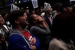 April 25, 2017 - Madrid, Spain - Protestors take the streets during a demonstration against the Spanish government  after allegations emerged against the President of corruption in Madrid, on 25 April 2017. Thousands demonstrators demanding the resignation of Prime Minister Mariano Rajoy and its party gathered in front of the People's Party headquarter. (Credit Image: © Juan Carlos Lucas/NurPhoto via ZUMA Press)