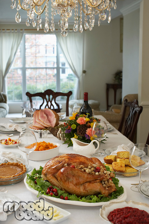 Thanksgivig dinner on table in elegant home
