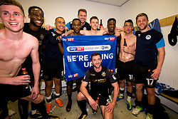 Free to use courtesy of Sky Bet - Wigan Athletic celebrate winning promotion to the Sky Bet Championship - Mandatory by-line: Robbie Stephenson/JMP - 21/04/2018 - FOOTBALL - Highbury Stadium - Fleetwood, England - Fleetwood Town v Wigan Athletic - Sky Bet League One