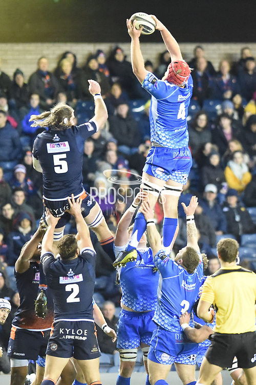 Lineout take for Joe Davies during the Guinness Pro 14 2018_19 match between Edinburgh Rugby and Dragons Rugby at Murrayfield Stadium, Edinburgh, Scotland on 15 February 2019.