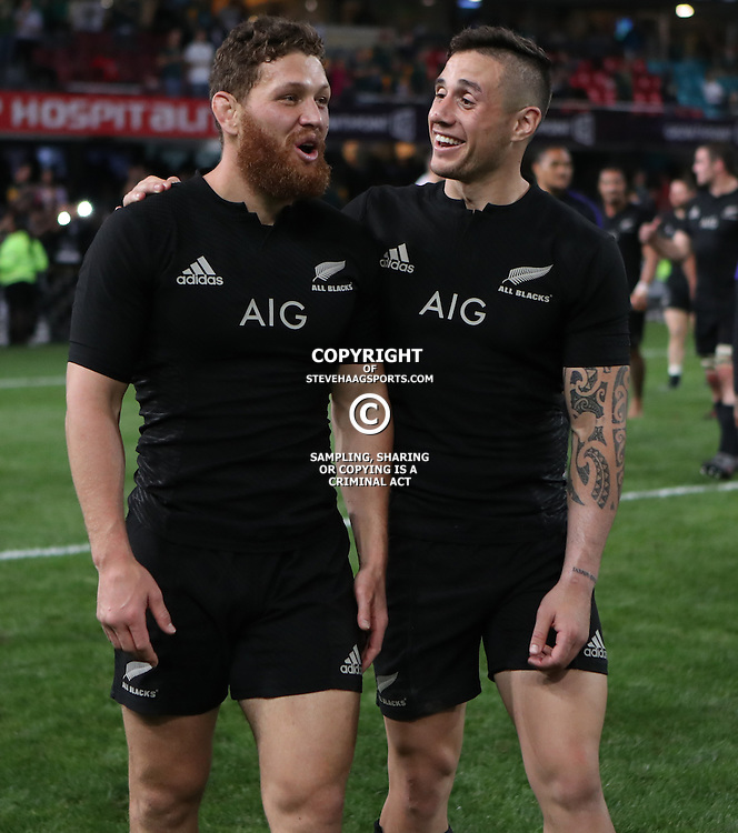 DURBAN, SOUTH AFRICA, 8 October, 2016 - Tawera Kerr-Barlow of New Zealand with TJ Perenara of New Zealand during the Rugby Championship match between South Africa and New Zealand at Kings Park in Durban, South Africa. (Photo by Steve Haag)