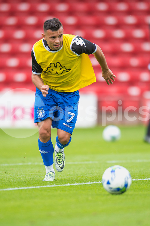 Zeli Ismail of Bury warms up ahead of the EFL Sky Bet League 1 match between Walsall and Bury at the Banks's Stadium, Walsall, England on 27 August 2016. Photo by Darren Musgrove.