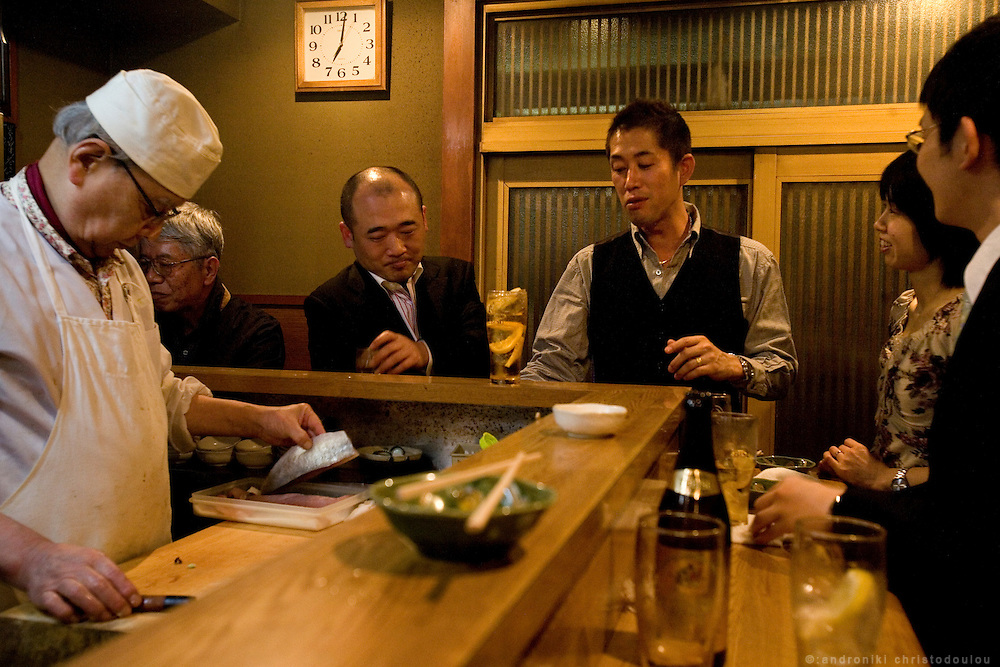 """Kanemasu"" is an old tachinomiya, or ""stand-and-drink store,"" one of the earliest forms of izakaya."