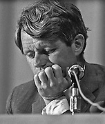"""Stockton, California, March 1968.--RFK came to Stagg High School to attend a senate committee hearing on the conditions of poor people.    Robert Francis """"Bobby"""" Kennedy (November 20, 1925 - June 6, 1968), also called RFK, was the United States Attorney General from 1961 to 1964 and a US Senator from New York from 1965 until his assassination in 1968. He was one of US President John F. Kennedy's younger brothers, and also one of his most trusted advisors and worked closely with the president during the Cuban Missile Crisis. He also made a significant contribution to the African-American Civil Rights Movement..Photo by Al GOLUB/Golub Photography."""